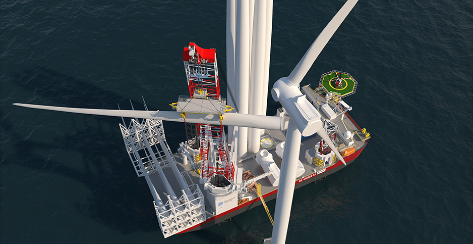 Offshore wind installation vessel. Photo credit: Dominion Energy