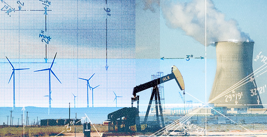 Energy themed photo illustration. Credits: Claudine Hellmuth/E&E News(illustration);Internet Archive Book Images/Flickr(drafting sketch); jwigley/Pixabay(pumpjack); Peretz Partensky/Flickr(nuclear); MaxPixel(turbines)