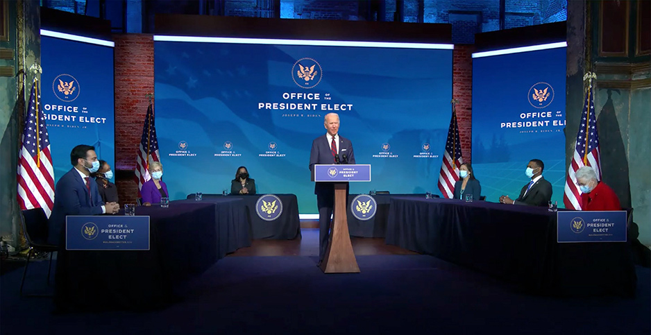 President-elect Joe Biden appeared Saturday with members of his planned climate and energy team. Photo credit: CNP/AdMedia/SIPA/Newscom