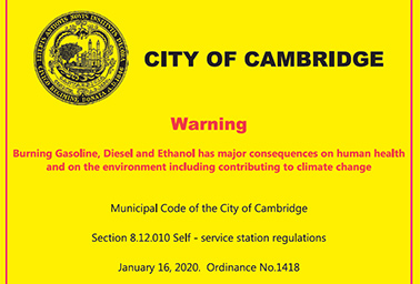 An example of the warning label that fuel nozzles in Cambridge, Mass., now will carry. Photo credit: City of Cambridge, Mass.