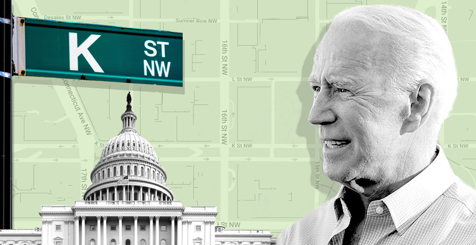 Biden lobbying collage. Credits: Claudine Hellmuth/E&E News (illustration); Glyn Lowe PhotoWorks/Flickr (K Street sign); Gage Skidmore/Flickr (Biden); Architect of the Capitol/Flickr (Capitol); SnazzyMaps (map)