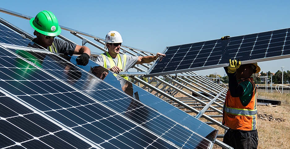 Solar panel installation. Photo credit: Dennis Schroeder/NREL