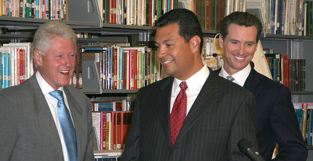President Clinton, Alex Padilla and Gavin Newsom. Photo credit: Kristen Noseda/LE/Splash News/Newscom