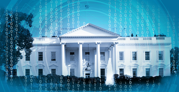 White House and cyber graphic. Photo credit: Claudine Hellmuth/E&E News(illustration); Jason Goulding/Flickr (photo)