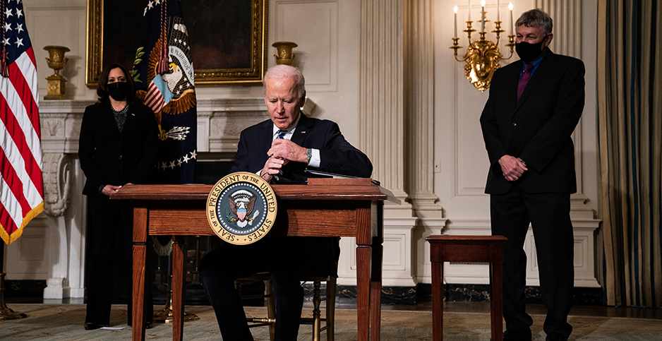 President Biden signing executive orders. Photo credit: Anna Moneymaker/NYT/Newscom