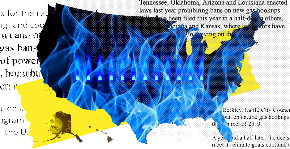 Natural gas in USA collage. Photo credits: Claudine Hellmuth/E&E News (illustration); Pikrepo(gas flame); Freepik (gas flames); Jeffrey Tomich/E&E News (text)