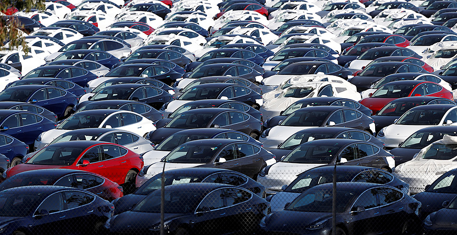 Parking lot full of electric vehicles. Photo credit: Stephen Lam/Reuters/File Photo/Newscom