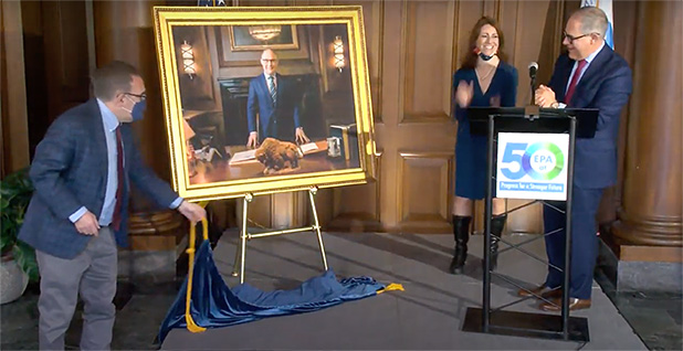 Scott Pruitt, Andrew Wheeler and Mandy Gunasekara at Pruitt's portrait unveiling. Photo credit: EPA/YouTube