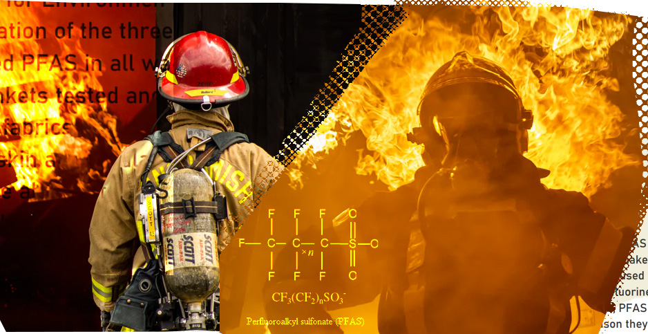 Firefighters PFAS collage. Credits: Claudine Hellmuth/E&E News (illustration); Jay Heike/Unsplash (left photo); Tobias Rehbein/Unsplash (right photo); Clean and Healthy New York (text); National Academies Press (chemical compound)