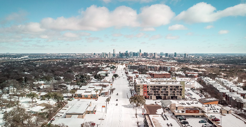 Snow in Austin. Photo credit: Pearcey Proper/Sipa USA/Newscom
