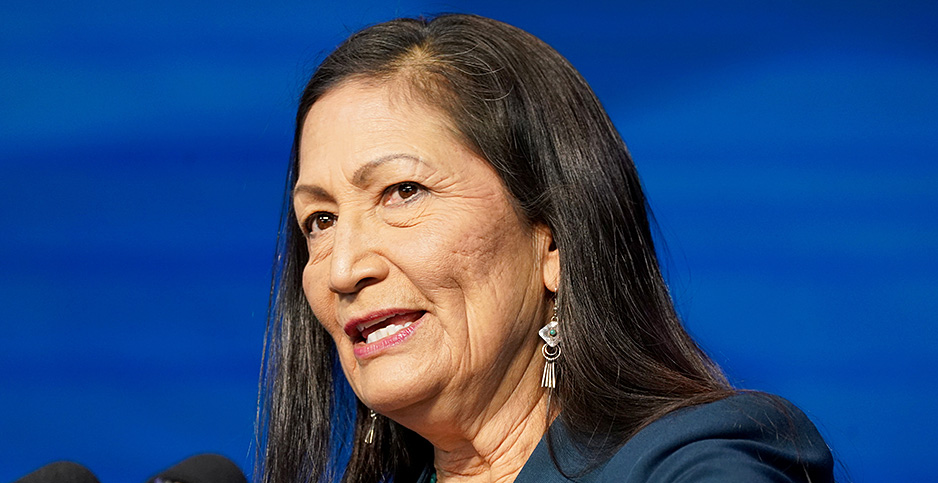 Deb Haaland speaks after she's announced as Interior secretary. Photo credit: Kevin Lamarque/Reuters/Newscom