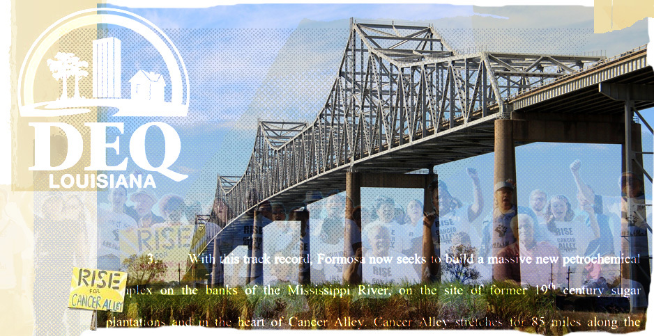 Sunshine Project, collage. Credits: Claudine Hellmuth/E&E News (illustration); cmh2315fl/Flickr (bridge); RISE ST. JAMES (activists and sign); Court documents (text); Louisiana Department of Environmental Quality (logo)