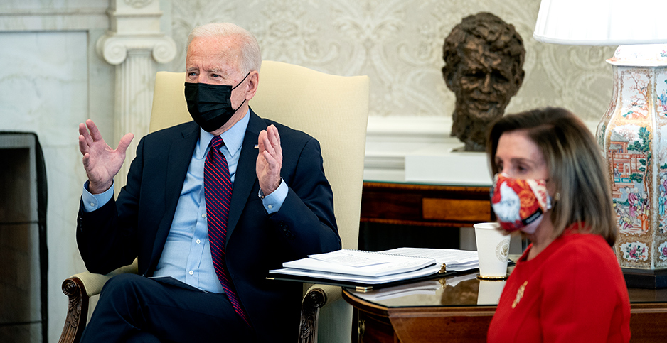President Biden and Rep. Nancy Pelosi (D-Calif.). Photo credit: CNP/AdMedia/Newscom