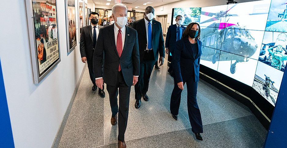 President Joe Biden (l) walks with Vice President Kamala Harris (r) and Secretary of Defense Lloyd Austin (c) at the Pentagon on Feb. 10, 2021. Photo credit: Adam Schultz/White House/Flickr