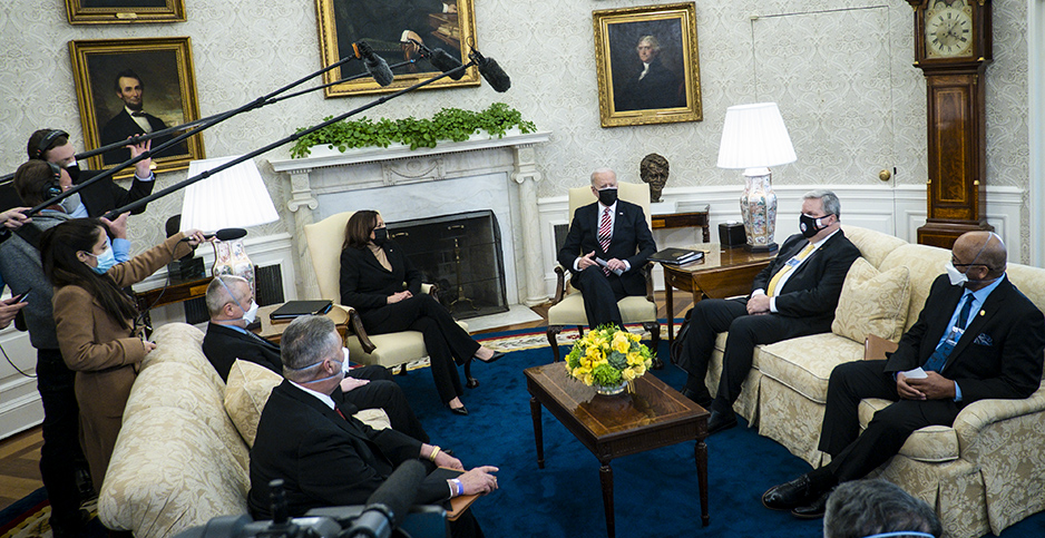 Joe Biden meets with labor leaders. Photo credit: Pete Marovich/UPI/Newscom