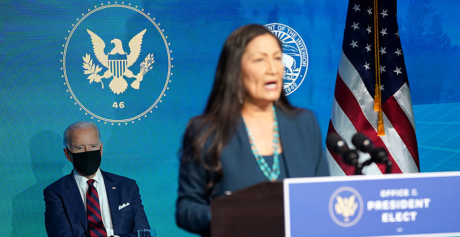 Rep. Deb Haaland (D-N.M.) and Joe Biden. Photo credit: Kevin Lamarque/Reuters/Newscom