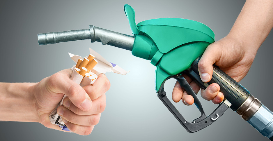 Cigarettes and gas pump illustration. Photo credits: Claudine Hellmuth/E&E News (illustration); Freepik (photos)