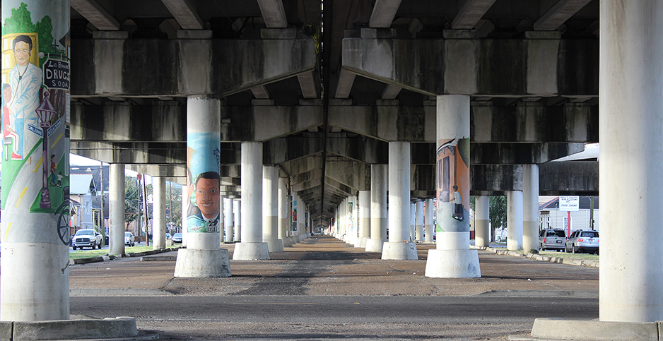 View under the Elevated I-10 Claiborne Avenue Expressway, 2014. Photo credit: Christine Carlo/Tulane School of Architecture