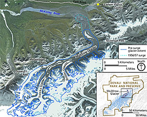 Map of the Muldrow Glacier and surrounding area. Credit: National Park Service