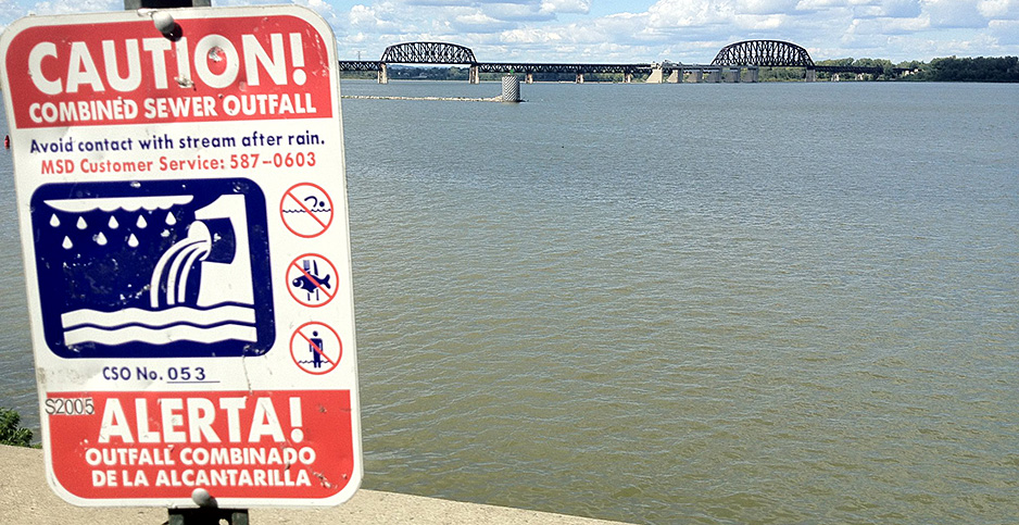 A sign in Louisville warns of combined sewer outfall. Photo credit:  Zepfanman.com/Flickr