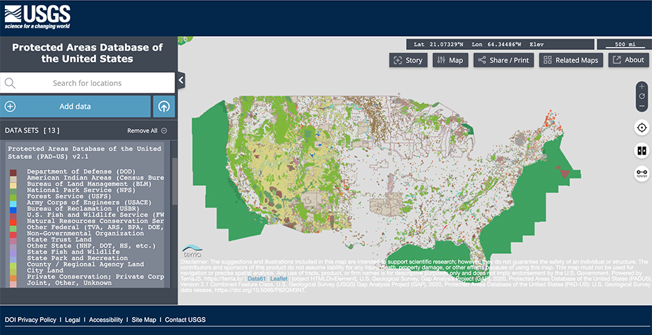 The U.S. Geological Survey's Protected Areas Database. Photo credit: U.S. Geological Survey