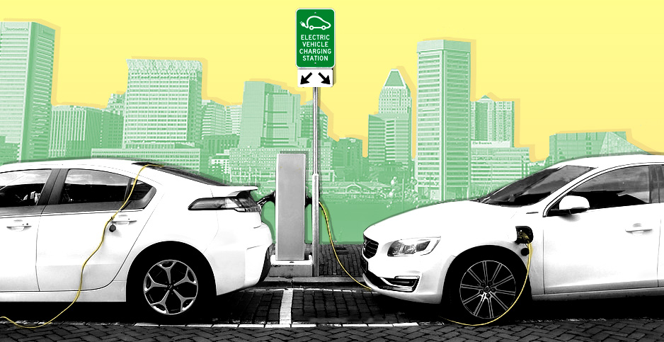 Photo illustration of electric cars charging with city of Baltimore in the background. Image credits: Claudine Hellmuth/E&E News (illustration); Joenomias/Pixabay (cars, charging station); BruceEmmerling/Pixabay (Baltimore)