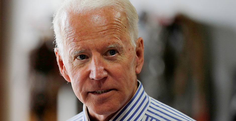 Joe Biden tours the Plymouth Area Renewable Energy Initiative in Plymouth, New Hampshire, in 2019. Credit: Brian Snyder/REUTERS/Newscom
