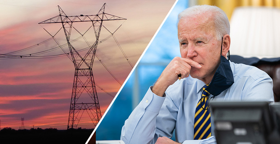 Transmission lines and Biden. Credits:  Bill Titch/Western Power/Flickr (transmission lines); Lawrence Jackson/White House/Flickr (Biden)