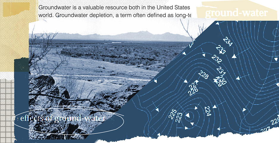 Groundwater collage. Photo credit: Claudine Hellmuth/E&E News (illustration);  USGS (photo, water table diagram, text)