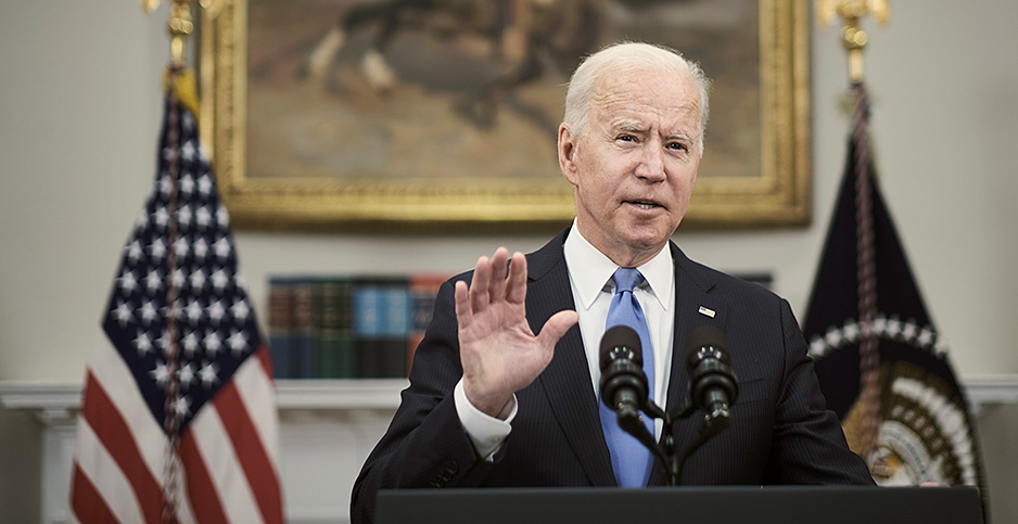 President Joe Biden speaks. Photo credit:  T.J. Kirkpatrick for Pool/Sipa USA/Newscom