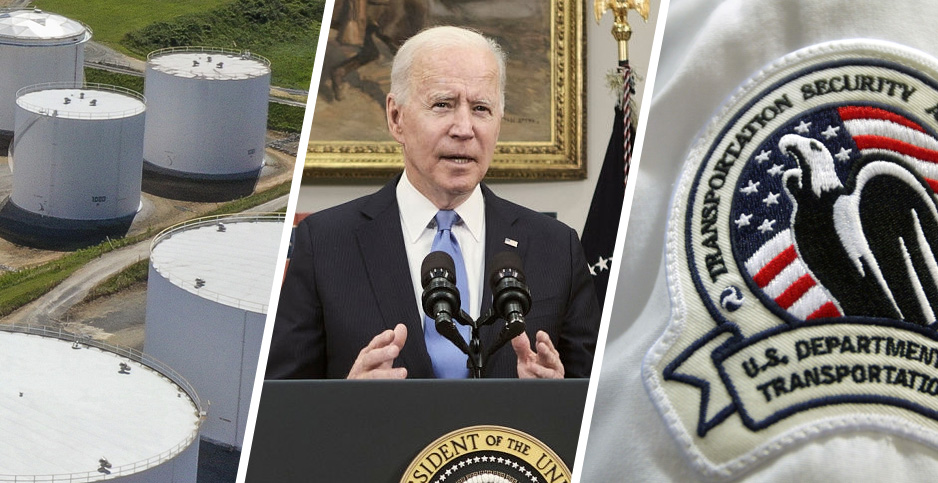 Colonial pipeline tanks, President Biden, Transportation Security Administration badge. Credits: Drew Angerer/Getty Images (Colonial pipeline tanks); T.J. Kirkpatrick-Pool/Getty Images (Biden); Joe Raedle/Getty Images (badge)