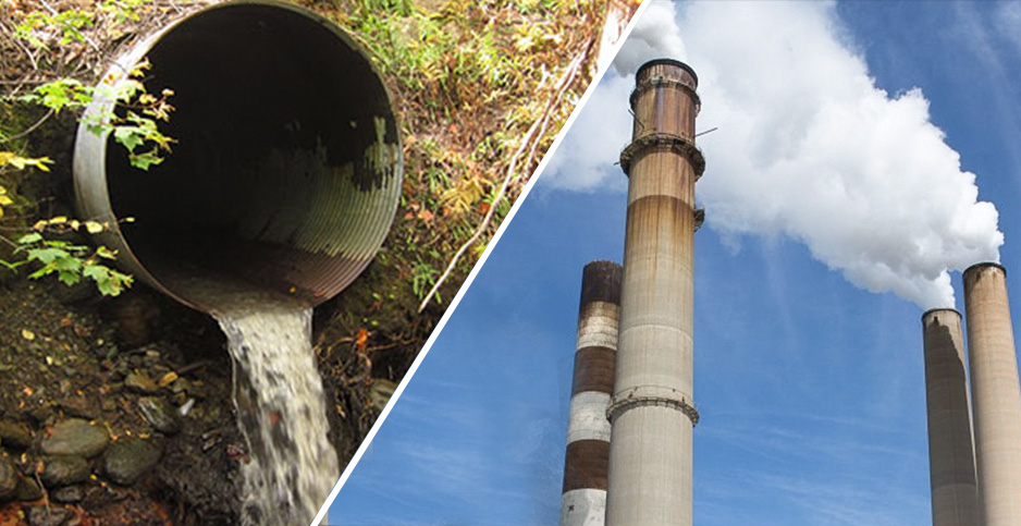 Wastewater and power plants. Photo credit: Sickter6/Wikipedia(wastewater);PxHere(coal plant)