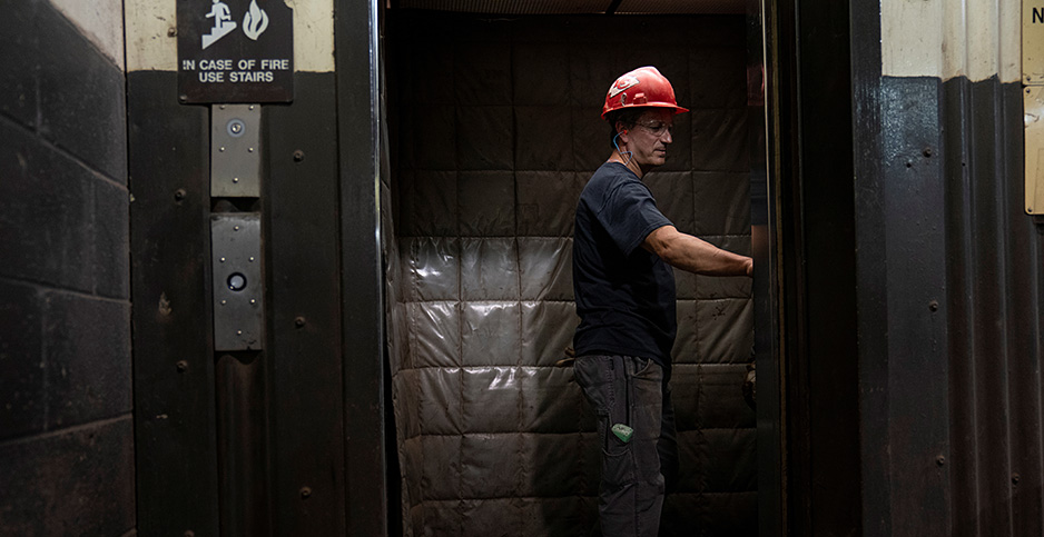 Mike Gaval catches the elevator to the control room inside the Gilberton Power Co. coal-fired power plant in Gilberton, Pennsylvannia, U.S., July 15, 2020. Photo credit: Dane Rhys/REUTERS/Newscom